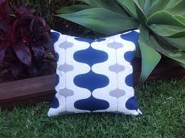 Modern Outdoor Cushions Navy Blue Grey & White Outdoor
