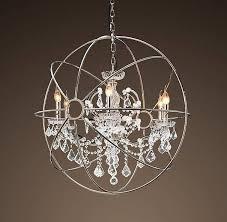inspirational restoration hardware foucault s orb crystal chandelier