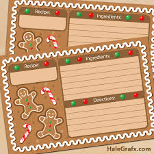 Printable Christmas Recipe Cards Free Printable Christmas Gingerbread Recipe Cards
