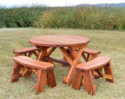 round picnic table with wheels options 3 5 diameter unattached benches redwood