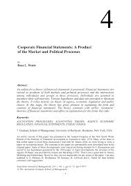 Pdf Corporate Financial Statements A Product Of The Market