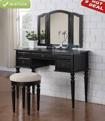 tri mirror 5 drawer black wood makeup table dresser vanity set w bench