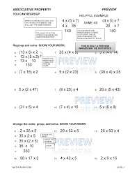 Worksheet #734950: Associative Property of Multiplication ...
