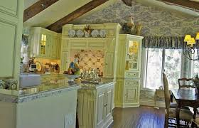 Country Kitchen Decor In Light Colors, Modern Wallpaper Pattern And Rooster  Decorations ...