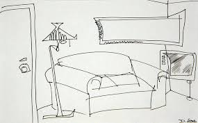 Couch Drawing - Living Room by Denny Casto