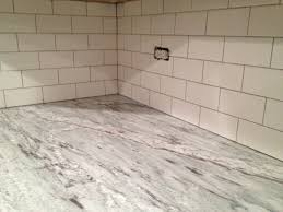 Porcelain Tile Kitchen Backsplash Stunning White Subway Tile Backsplash On Kitchen With Dark Grout