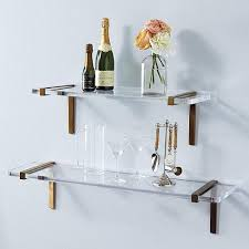 Lucite Floating Shelves Impressive Lucite Wall Shelves Amazing Acrylic Brass Brackets Shelf Inside 32