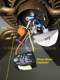 how to replace a ceiling fan motor capacitor hampton bay ceiling fan ef200da 52 fan switch blown motor capacitor