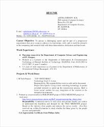 Sample Resume For Assistant Professor