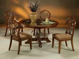 pastel furniture carmel 5 piece round wood dining set with glass insert dining set with carmel