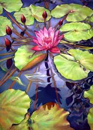 water lily in the center of its universe oil 36 x 48 painting size
