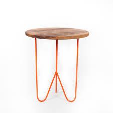 black walnut side table (orange)  sean woolsey art  furniture