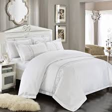 new 100 cotton tribute silk bedding set white embroidered hotel duvet cover set king queen size hotel bedding sheets set in bedding sets from home garden