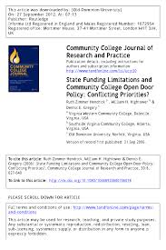 pdf state funding limitationunity college open door policy conflicting priorities