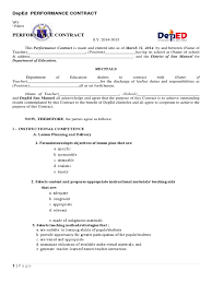 Deped Performance Contract Template Docshare Tips