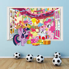 new 3 colors 3d diy fake window wall stickers my little pony home