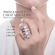 Princess Cut Diamond Size Chart On Hand Www