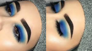 simple blue smokey eye makeup tutorial