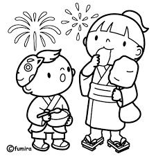 花火大会と子どものイラストぬりえ 子供と動物のイラスト屋さん