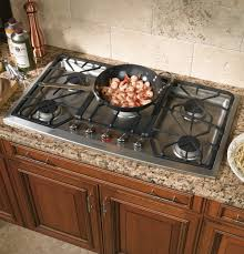 gas stove top cabinet. Monogram 36 Inch Stainless Steel Gas Cooktop Natural Burner Type 5 Sealed Automatic Ignition System Mitered Solid Wood Kitchen Cabinets Ceramic Tile Cast Stove Top Cabinet O