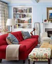 Living Room With Red Sofa I Dont Generally Like Blue On Walls But This Looks Fresh Not