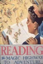 reading the magic highway to adventure official children s book week poster 1937 depicts children looking at an open book with characters leaping off