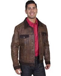 zoomed image scully men s vintage calf jean jacket brown