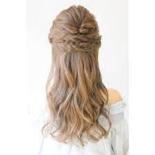 編み込みハーフアップ結婚式2次会に Brotoブロットのヘア