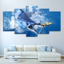 Modular Canvas Wall Art <b>HD</b> Printed <b>Pictures 5 Pieces</b> Jumping ...