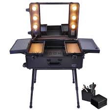 Makeup Case With Lights And Mirror Uk Uk 58x45x22cm Makeup Artist Rolling Makeup Case W Light Mirror
