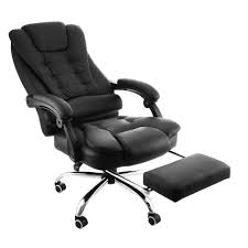 White Reclining Office Chair Computer Chair With Ottoman Petite ...