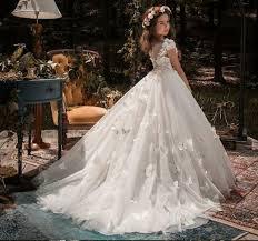 Davids Bridal Flower Girl Size Chart Flower Girl Dress For Kids Lace Ball Gown Wedding Bridesmaid Communion Dresses