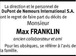 Hommages - Pour que son souvenir demeure: Max FRANKLIN