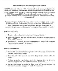 9 Production Supervisor Job Description Samples Sample Templates