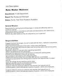 Server Job Duties For Resume Classy Restaurant General Manager Job Description Resume Sample Restaurant