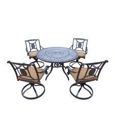 oakland living cast aluminum 5 piece round patio dining set with sunbrella cushions