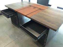 metal industrial desk custom made modern industrial desk with custom  leather signature pad industrial style metal