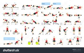 workout man set fat man doing fitness and yoga exercises lunges and squats