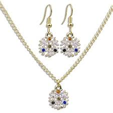 women s cubic zirconia cuban link jewelry set snowflake stylish dangling style sweet include drop earrings pendant necklace white for date