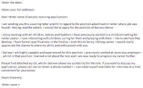 Cover Letter Nursery Nurse Job Sample Child Care Assistant