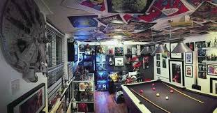 Poster Ceiling Pool Table Gaming Man Cave Designs