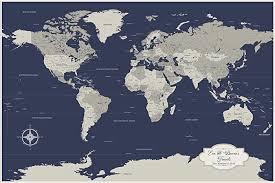 Amazon Com Personalized Cotton Anniversary Push Pin World Map