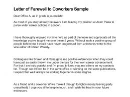 letter of farewell to coworkers sample 241 2