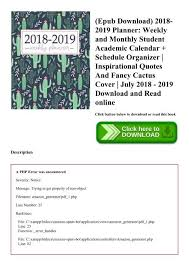Weekly Calendar Online Epub Download 2018 2019 Planner Weekly And Monthly Student