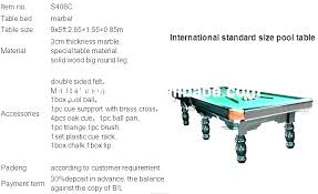 Pool Table Sizes Chart Pool Table Sizes For Home Villacolors Co