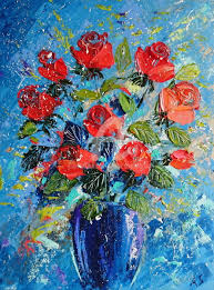 red roses in a vase palette knife oil painting painting 40x30x0 2