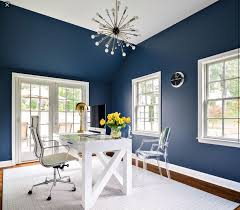 blue office decor. white and navy blue home office features a sputnik chandelier hanging over crosscut desk topped with computer brass lamp decor h