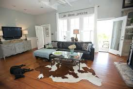 cowhide rug living room decorating with cowhide rug living room farmhouse with cowhide rugs brown blue scheme blue and brown