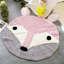 pink fox ears pattern crochet round rugs and carpets for children room decoration kids baby blanket crochet rectangle rug rag round