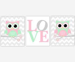 canvas prints for baby room. Baby Girls Canvas Nursery Wall Art Pink Green Gray Grey Owl Love Prints Decor For Room A